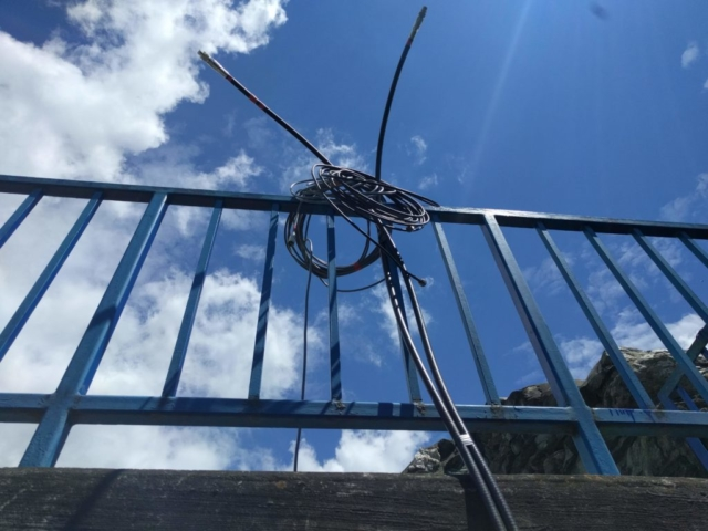 Hardline coax run to the top of the tower for the twin 80-met dipole antennas. We got a lot of questions from visitors to the top!